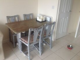 Shabby chic solid wood dining table and 4 chairs