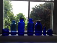 7 COBALT blue bottles
