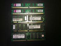 Lot de 5 modules de mémoire pour 20 $ (valeur de 50 $)
