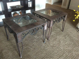 Glass/Wrought Iron End Tables