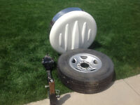 Roadtrek spare tire, mounting hitch and cover