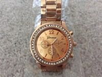 Brand new ladies designer rose gold quartz watch