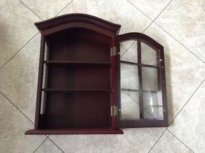 FOR SALE:  WALL HUNG CURIO COLLECTIBLES CABINET