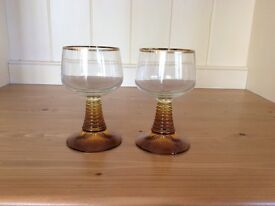 Pair of vintage / retro wine glasses