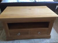 Solid oak coffee table can also be used as a TV / DVD player unit