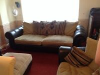 Settee, cuddle chair and footstool
