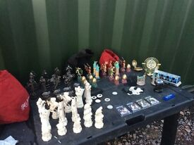 Harry Potter collectibles chess pieces, pin badges ect can post
