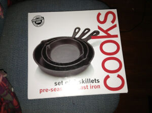 3 cast iron frying pan set for sale NEW