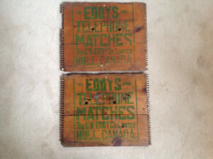 Antique E.B. Eddy Hull wooden box ends - telephone matches