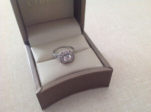 Stunning 10K White Gold &Swavorski Halo Ring