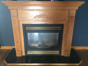 Black marble fireplace, propane
