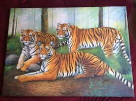 Beautiful, large, hand painted canvas, picture, art, from Thailand.