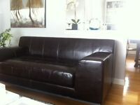 Ikea Espresso Brown Leather Couch