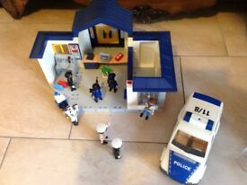 Playmobil police station with helicopter, car, motorcycle, characters and accessories