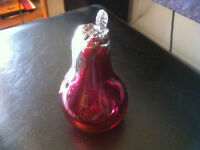 Cranberry Glass Pear with Crystal Leaf