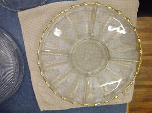 Vintage Antique Glass With Gold Trim Hor D'Oeuvres Tray