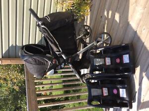 Britax B-Agile stroller/car seat/base x 2
