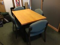 Beech meeting table and 4 chairs