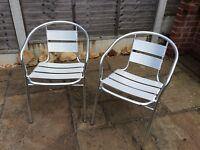 Aluminium bistro patio garden chairs X 2