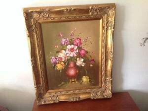 Mid-Century Signed Oil Painting Antique Frame