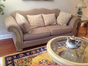 3 Seater carved solid wood couch. With reversible cushions