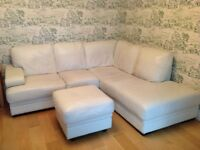 Leather corner sofa and foot stall