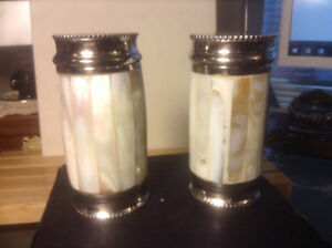 A BEAUTIFUL PAIR OF VINTAGE MOTHER OF PEARL COATED SALT AND PEPP