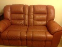 Leather reclining 3 piece suite