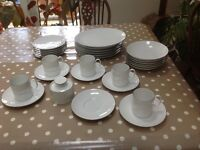 Dinner service set, white with thin brown band by Thomas