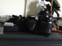 CANON EOS Rebel T5 with 3 lenses and a 8GB memory card