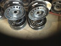 Set of 4 multi fit 17 inch used steel wheels.