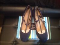 Brand new Navy blue suede Mary Jane style shoes still boxed size 8 more like a 7 £15 ono