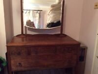 Vintage Solid Oak Dressing Table with mirror.