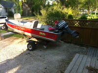 Lund 14' boat and trailer comes with 20Hp mercury