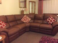 Tan Leather Reclining Corner sofa and Reclining Chair