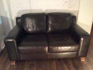 Causeuse, canapé, divan, sofa, en cuir véritable, contemporain