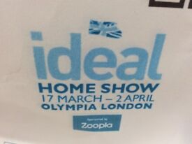 2 x adult tickets ideal home show 17 March 2018
