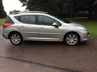 Peugeot 207 1.6 sport.sw 2008 08 plate estate silver panaramic roof