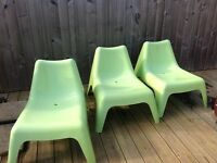 3 IKEA Green Plastic Outside chairs