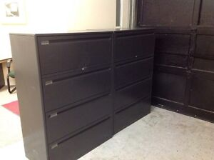 4 DRAWER BLACK LATERAL FILE CABINETS