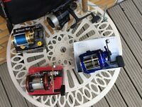 Job lot or singles - New Boat fishing rod, 4 Reels and a Gaff