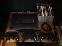 PS3 Slimline 500gb + 10 Games + 3 Controllers