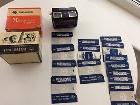 Vintage View Master 3D viewer in box and 16 reels including the Queens Coronation