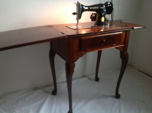 Queen Anne table with vintage sewing machine