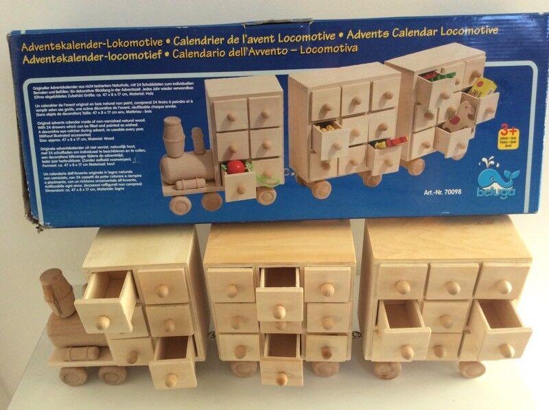 Wooden advent train (advent calendar)