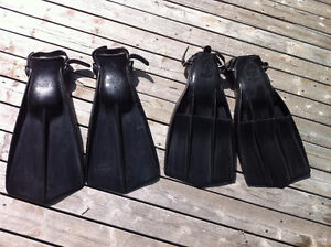 Two sets of scuba fins