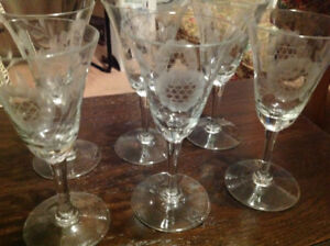 "Vintage ""Cornflower"" fluted crystal Wine glasses (6)"