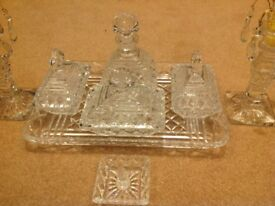 Dressing table set in clear glass