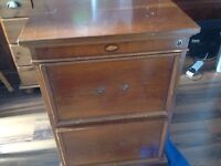 Vintage wooden filing cabinet two drawers