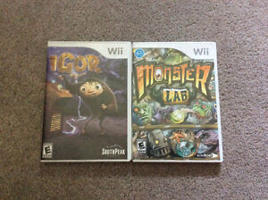 """Wii games for sale - """"Igor"""" and """"Monster Lab"""""""